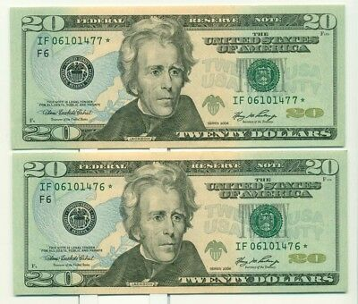 USA $20 2006 Star Note Pair in Sequence Gem UNC