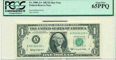 Fr. 1900-A* 1963 $1 Star Note Federal Reserve Note Gem New 65PPQ #A001641135*