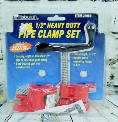 "Pittsburgh 2 Pc 1/2"" Heavy Duty Pipe Clamp Set Item 37056 Heat Treated Cast Iron"