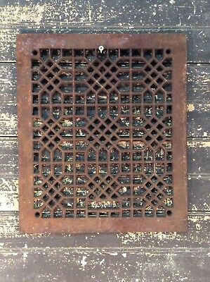Antique Vtg Cast Iron Ornate Furnace Cold Air Return Floor Register Grate 14x12
