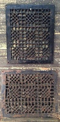 Pair Antique Cast Iron Ornate Furnace Cold Air Return Floor Register Grate 17x14