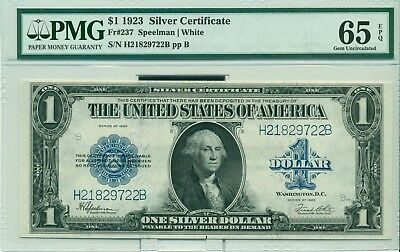 $1 USA 1923 Silver Certificate Fr#237 Speelman/White 65 EPQ Gem Uncirculated
