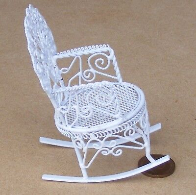 1:12 Scale White Wire Rocking Chair Dolls House Miniature Furniture Accessory 05