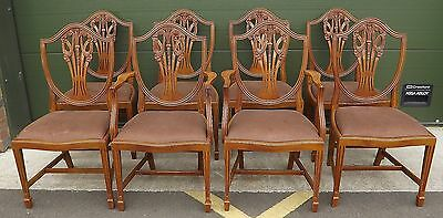 Set Of Eight Yew-Wood Reproduction Hepplewhite Dining Chairs With Two Carvers