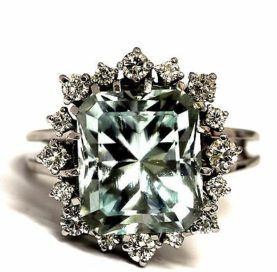 14k white gold .56ct SI1 H diamond synthetic aquamarine ring 6.3g estate vintage