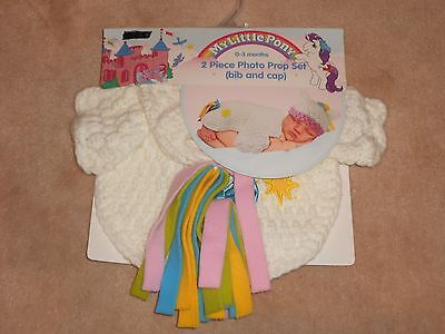 New, My Little Pony 2 Piece Photo Prop Set, Bib And Cap, 0-3 Months