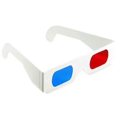 3D Glasses Red Cyan Blue Paper Cardboard Eye Anaglyph Viewers Movies NEW
