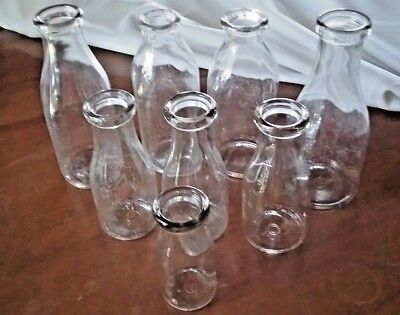 Lot of 8 Vintage Milk Bottles