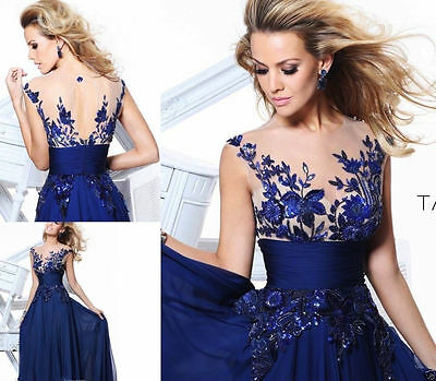 Women Bridesmaid Lace Ball Prom Gown Formal Evening Party Cocktail Long Dress H