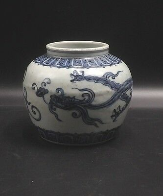 Chinese Blue & White Dragon Pot