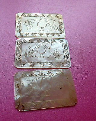 3-Antique Pearl Engraved Sewing Thread Winders.