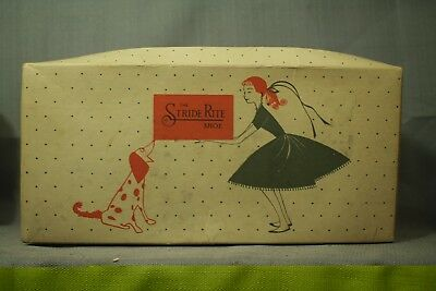 old vintage 1950s shoe box Stride Rite young girl teenager dress Dalmatian dog