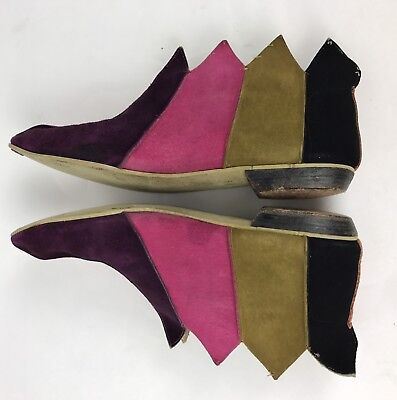 VTG 50s 60s Womens Pixie Jester Elf Harlequin Nina Booties Boots Shoes Suede 5.5