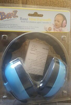 Baby Banz Mini Ear Defenders Ear Muffs Protectors 3 months and up+ Light Blue