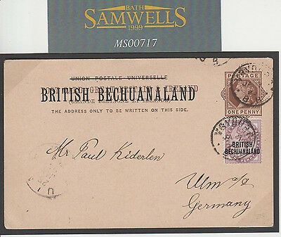 MS00717 1895 BECHUANALAND Postal Stationery Card Uprated GB Overprint *Vryburg*