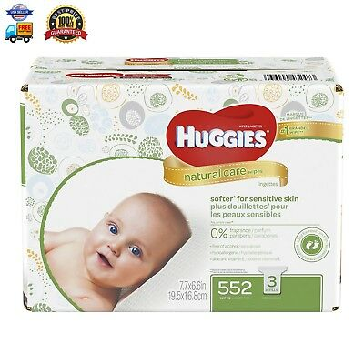 HUGGIES Natural Care Baby Wipes, Refill Pack (552 Sheets Total), Fragrance-free
