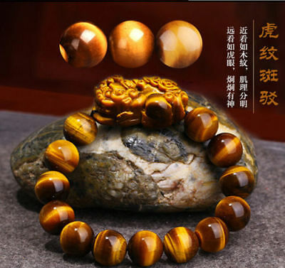 Natural Colorful Tiger Eye Stone Gemstone Beads pixiu Men Jewelry Bracelet
