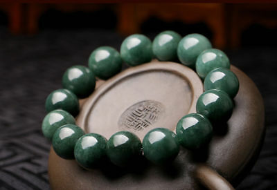 15mm Perfect Burma 100% A Grade Natural Jade/ Jadeite Bean Beads Bracelet