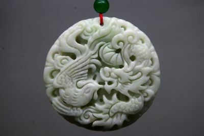 Chinese natural jade hand carved Dragon phoenix jade pendant amulet