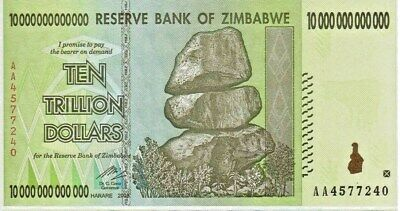 10 TRILLION ZIMBABWE DOLLAR AA UNCirculated 2008. MONEY CURRENCY.  [20 50 100]