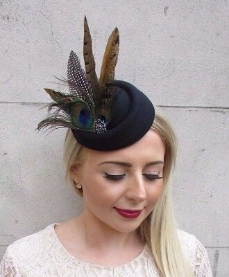 Black Peacock Pheasant Feather Pillbox Hat Hair Fascinator Races Clip Vtg 3877