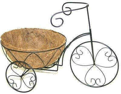Tricycle Plant Stand Coco Liner Planter Black Steel Flower Holder Display Decor