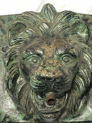 1 Antique Old Bronze Style Small Stone Lion Wall Fountain Mask Spout Plaque