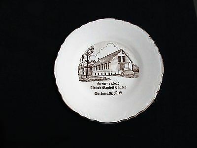 Vintage Plate Stevens Road United Baptist Church Dartmouth NS  22K Gold collect