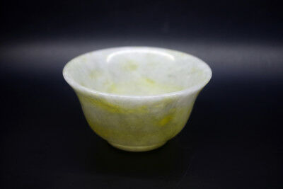 Exquisite Chinese natural light green jade hand carved Tea bowls decorations %