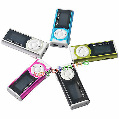 16GB USB Mini Clip MP3 Player LCD Screen Support Micro SD TF Card With LED Light