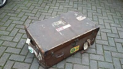 1 Antique Canvas Trunk And 1 1960's Metal Trunk