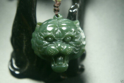 Natural Green Hand-carved Chinese Hetian Jade Pendant - tiger head-Free Necklace