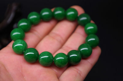 Real natural green jade handmade Round bead jade bracelets Jewellery gem bangle