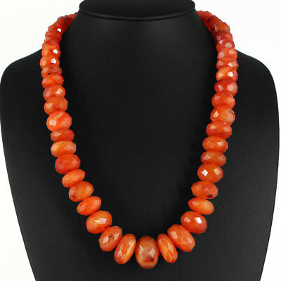 Aaa 790.00 Cts Natural Untreated Rich Orange Carnelian Faceted Beads Necklace