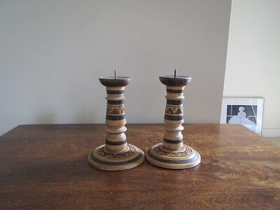 2 Wooden Candlestick Russian Design