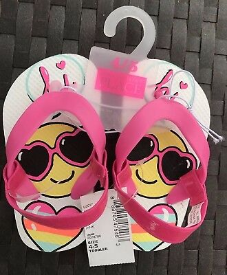 68f61ccdb03f The Children s Place Flip Flops for Little Girls Toddler Emoji Sandals 4 5