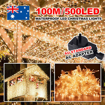 Warm White 500LED 100M Waterproof Christmas Fairy String Light Wedding Garden AU