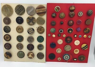2 ESTATE Button Collector Cards w/ 62 Vintage Assorted Celluloid Plastic Buttons