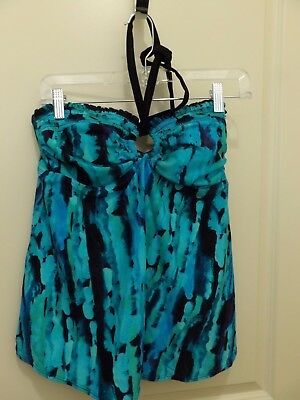 NWT Womens Size Medium Liz Lange Maternity Tankini Swim Top Aqua Turquoise
