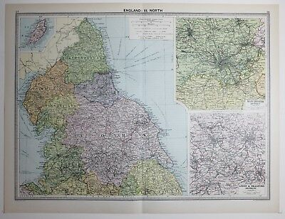 1920 Large Map England North York Cumberland Manchester District Leeds Bradford