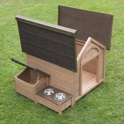 Wooden Dog Cat Pet Kennel Open Removable Roof Warm House Shelter Large