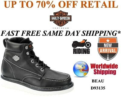 Harley-Davidson D93135 Men's Beau Black Leather Riding Motorcycle Boots