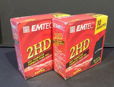 """2 x10 EMTEC EXTRA 2HD 1.44MB 3.5""""/90mm FLOPPY DISK DOUBLE SIDED HIGH DENSITY NEW"""