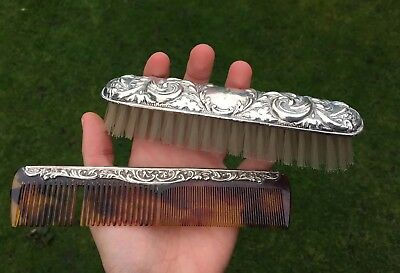 Silver Hallmarked Broadway And Co Antique Hair Brush And Comb