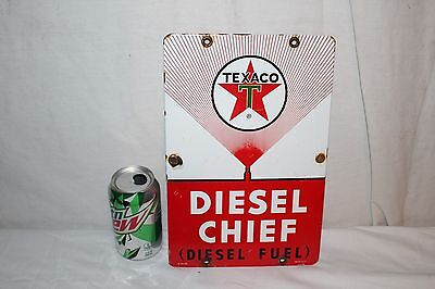 "Rare Vintage 1962 Texaco Diesel Chief Gas Pump Plate 12"" Porcelain Metal Sign"