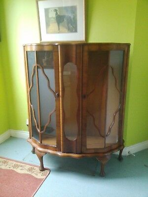 art deco 1930s bow fronted walnut  china display cabinet antique retro with key