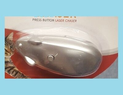 Press Button Mouse Laser Chaser For Cats Interactive Toy Encourage Pets Exercise