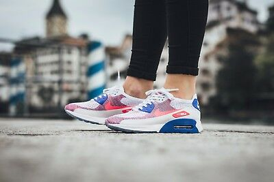 143401cfc873 WOMEN S NIKE AIR MAX 90 ULTRA 2.0 FLYKNIT WHITE RACER PINK 881109 103 Size 7