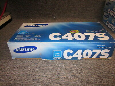 New Genuine Samsung C407S CLT-C407S Cyan Toner Cartridge CLP-32x CLX-318x series
