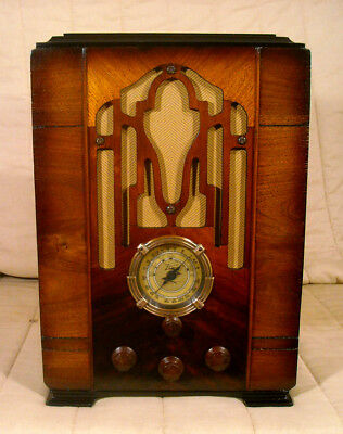 Old Antique Wood Zenith Vintage Tube Radio - Restored & Working Tombstone
